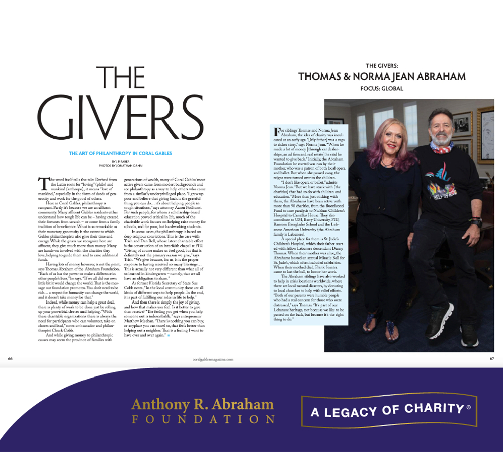 """In the news: Coral Gables magazine article """"The Philanthropists of Coral Gables"""""""