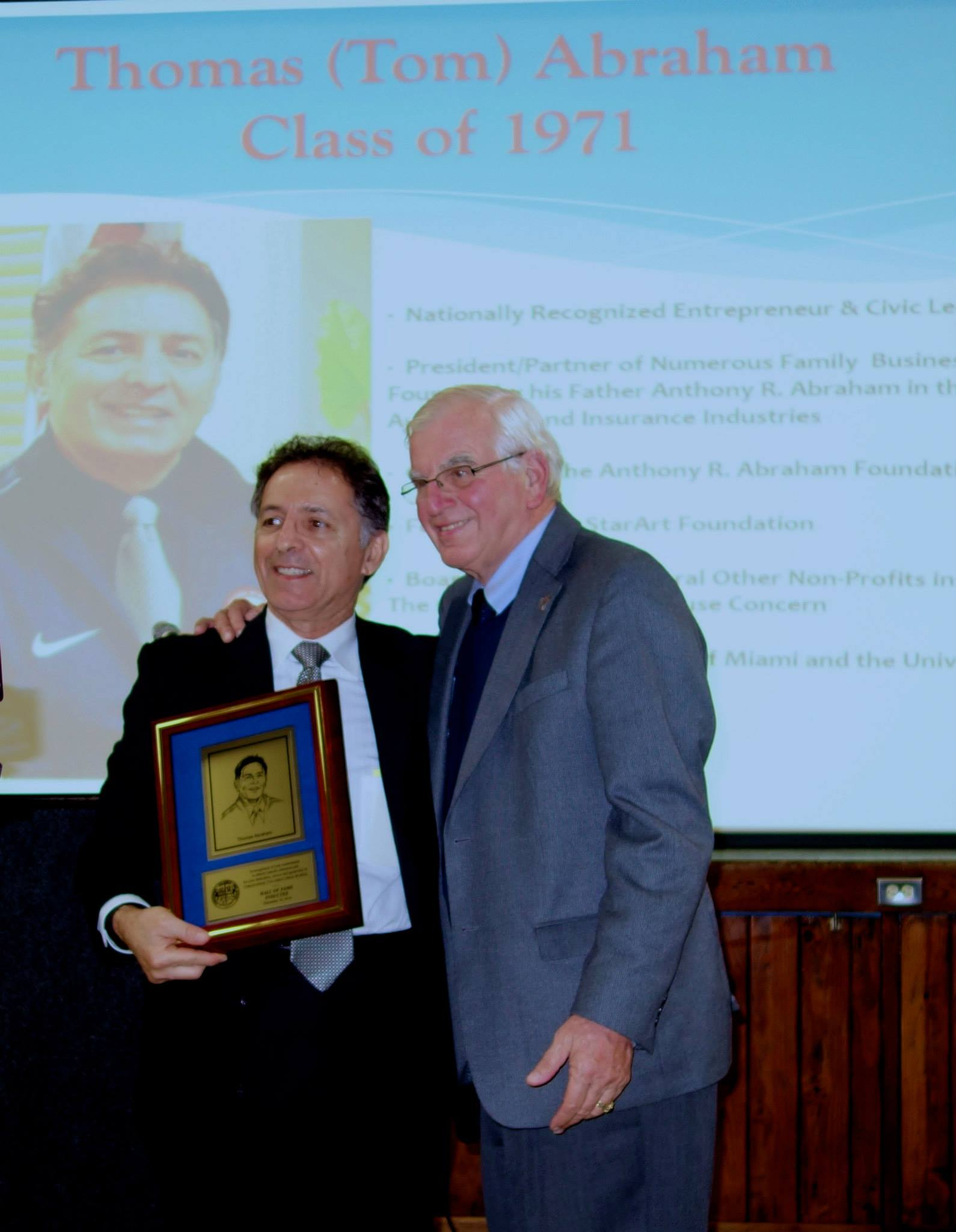 Thomas Abraham Inducted into the Christopher Columbus High School Hall of Fame