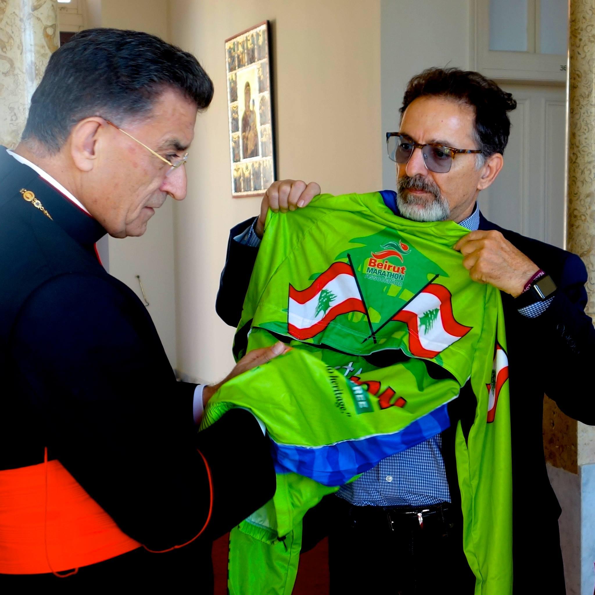 "Presenting ""iAM LEBANON- Proud- Independent & Free Jacket to Patriarch Moran Mor Bechara Boutros al-Rahi"